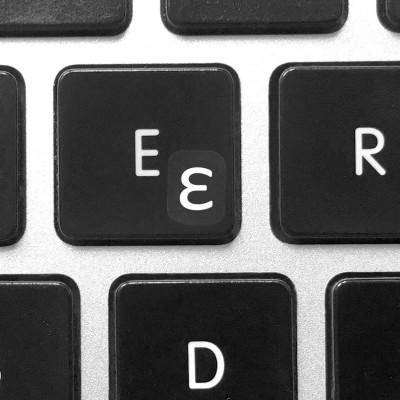 install greek keyboard stickers blue