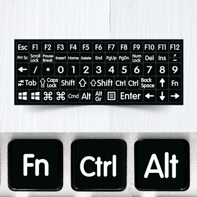 BIG Modifier & Function Signs – Nontransparent Stickers for Black Keyboards