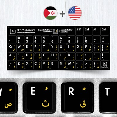 Arabic and English Non Transparent Stickers for Black Keyboard