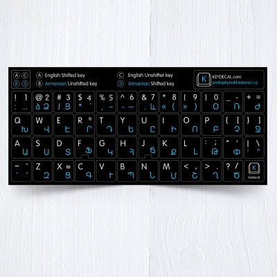 Armenian & English keyboard sticker on black background