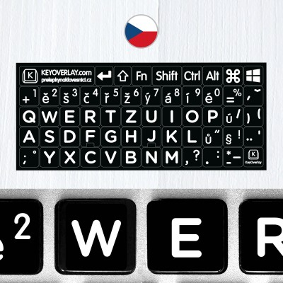 Czech BIG Letters Non Transparent Keyboard Stickers