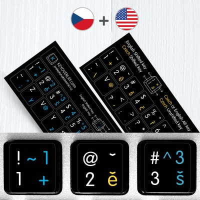 Czech & English non transparent keyboard stickers (abridged version)