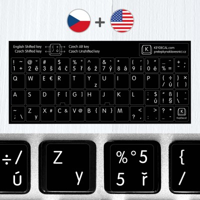Czech & English non transparent keyboard stickers (extended version)