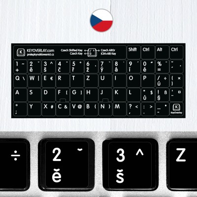 Czech non transparent keyboard stickers (extended version)