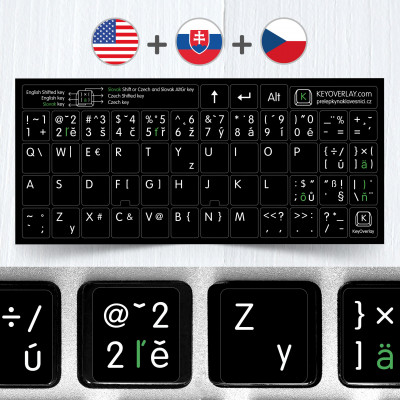 Czech, English and Slovak non transparent keyboard stickers (extended version)