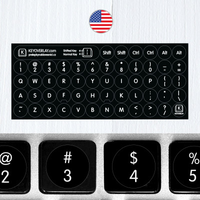 English Round Keyboard Stickers on Black Background
