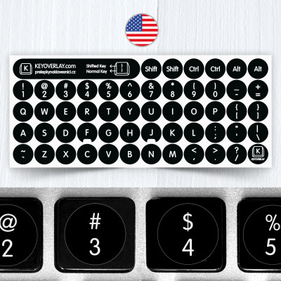 English Round Keyboard Stickers on Black Background