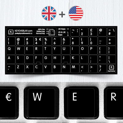 UK & US keyboard layout on black background