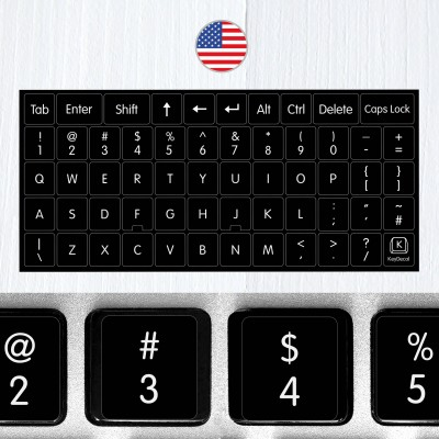 Universal English Nontransparent Keyboard Stickers on Black Background