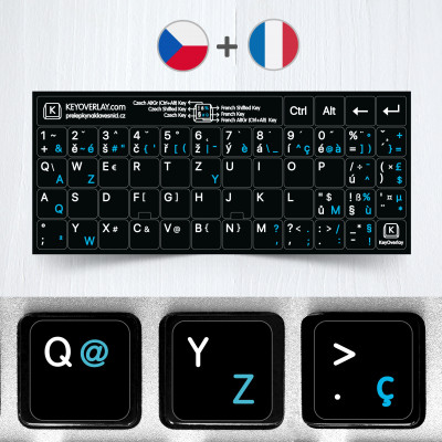 French (AZERTY) & Czech non transparent keyboard stickers (extended version)