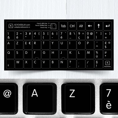 French (AZERTY) Keyboard Stickers on black background