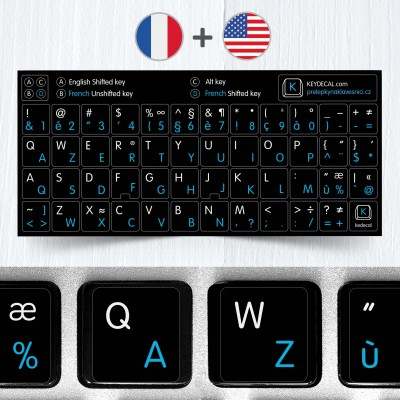 French (AZERTY) & English non transparent keyboard stickers (extended version)