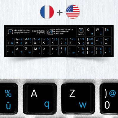 French (AZERTY) & English non transparent keyboard stickers (abridged version)