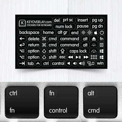 Small Modifier & Function Keys – Nontransparent Stickers for Keyboards