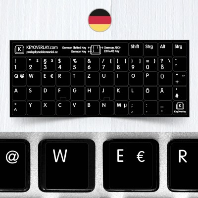 German (QWERTZ) non transparent keyboard stickers (extended version)