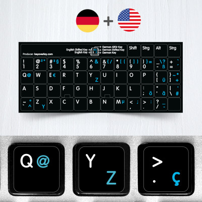 German (QWERTZ) & English non transparent keyboard stickers (extended version)