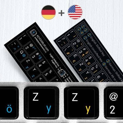 German (QWERTZ) & English non transparent keyboard stickers (abridged version)