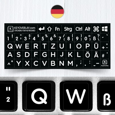 German BIG Letters Non Transparent Keyboard Stickers