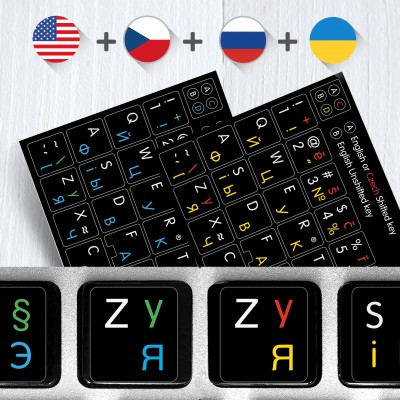 134623aa926 Russian Czech English Ukrainian alphabets keyboard stickers – 4 in 1