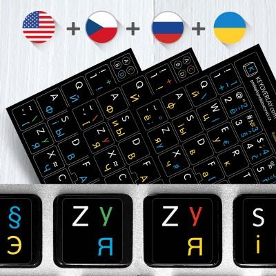 Russian Czech English Ukrainian alphabets keyboard stickers – 4 in 1