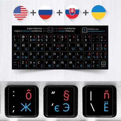 Slovak, Russian, English and Ukrainian non transparent keyboard stickers