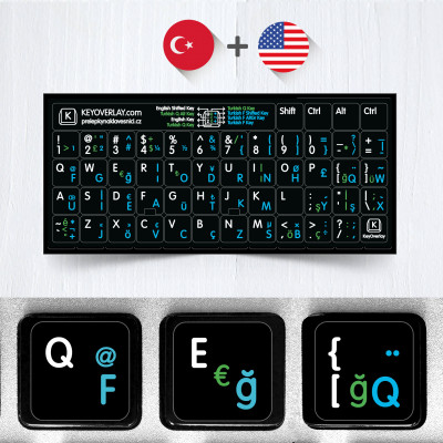Turkish F + Q and English Non Transparent Stickers for Black Keyboard