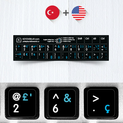 Turkish and English Non Transparent Stickers for Black Keyboard (abridged version)