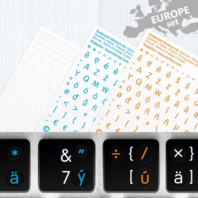 European Multilingual Latin Stickers Set, Included all Symbols