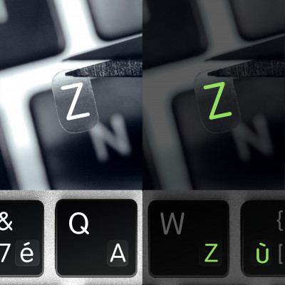Glowing French Alphabet and Punctuation Symbols with Fluorescent Effect for Dark Keyboard