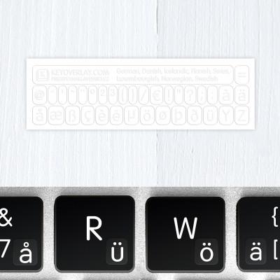 t german keyboard stickers white glow