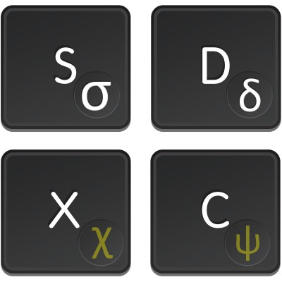 Greek transparent stickers for dark keyboard