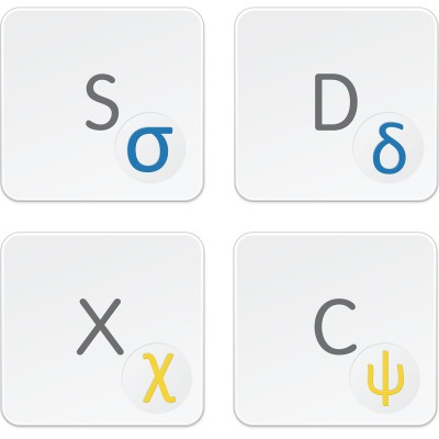 Greek transparent keyboard decals for light background