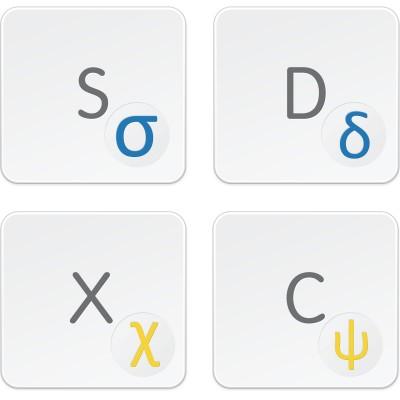 Greek transparent keyboard decals for LIGHT keyboard