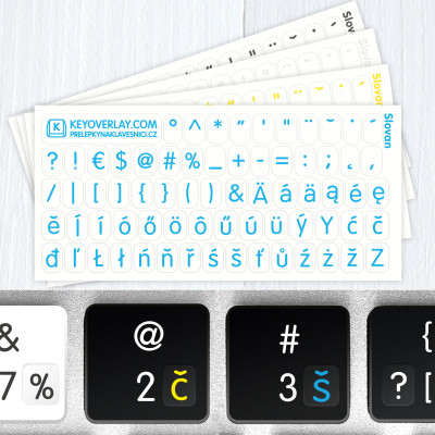 Czech Alphabet and Punctuation Symbols – Small Transparent Keyboard Stickers