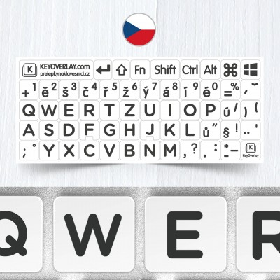 Czech BIG Letters Keyboard Stickers on White Background