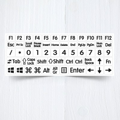 white big function modifications keyboard stickers