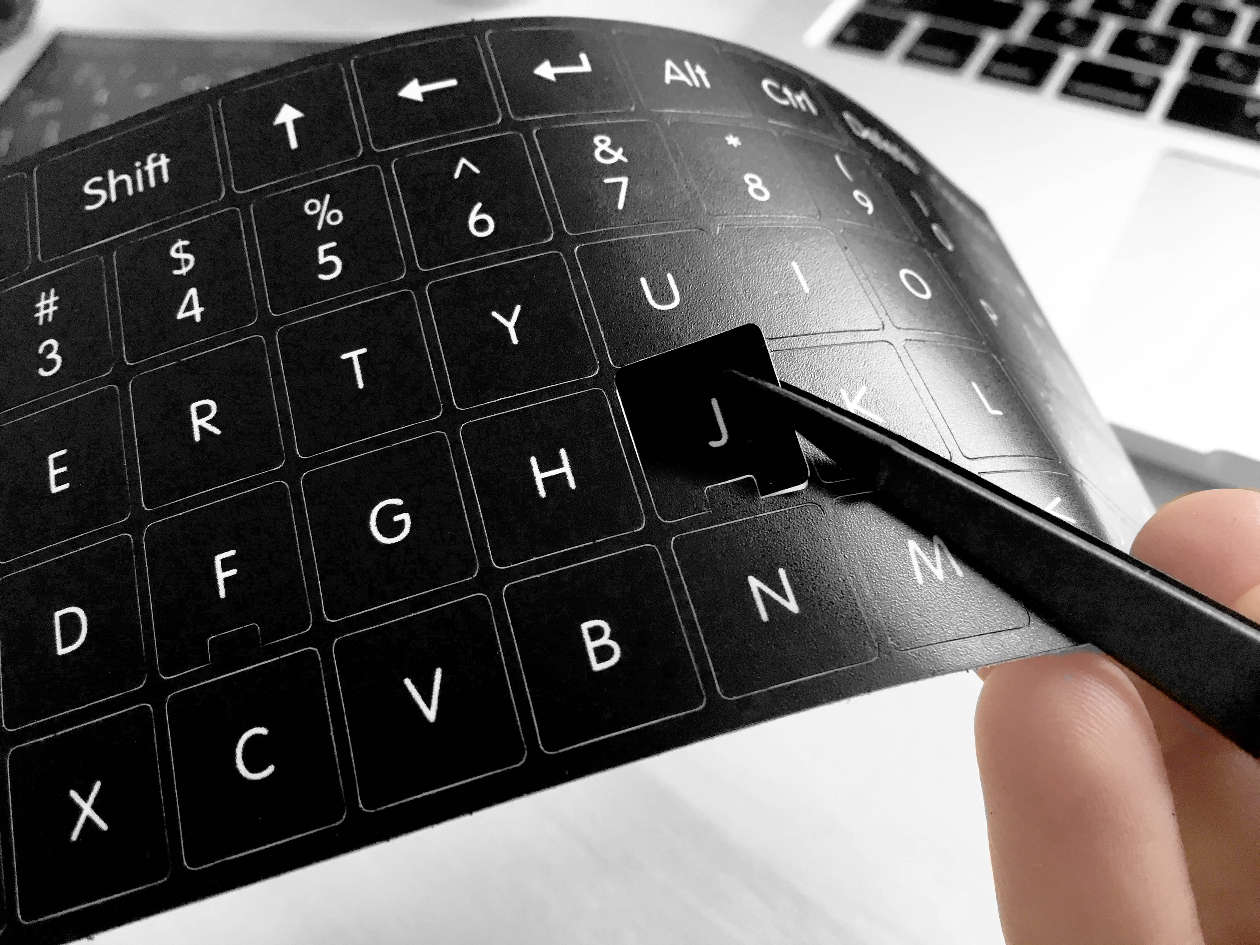 618396172ad Czech and English non transparent keyboard stickers on black background